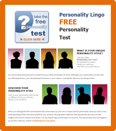 Free Personality Test from Personality Lingo